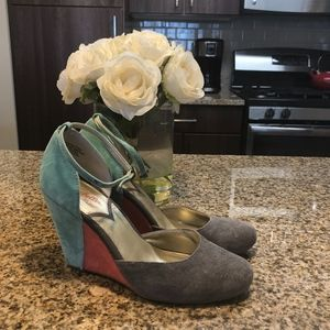 Multi colored Mary Jane Wedges